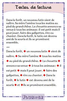 Lecture au cp – ce1 – ce2 | Fluence | Le cycle 2 - Après l'école French Practice, Reading Comprehension Activities, French Expressions, 5th Grade Reading, French Classroom, Speech Language Pathology, French Lessons, Teaching French, Learn French
