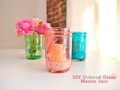 DIY Colored Glass Mason Jars : How to turn clear glass jars into colored glass vases and candle holders.