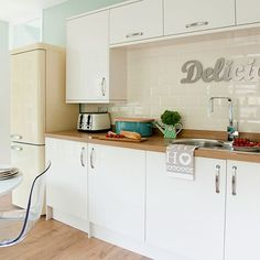 Traditional white kitchen with pastel accents | Kitchen decoating | Style at Home | housetohome.co.uk