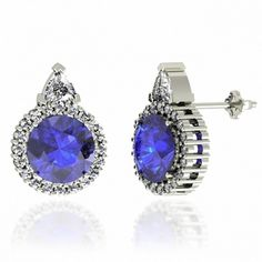 1.56ctw Round Tanzanite Earring With .4ctw Diamonds in 14k White Gold !!