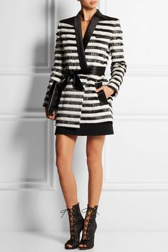 Balmainjacket, Alaia shoes, Givenchy clutch, Marni skirt