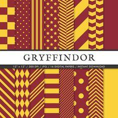 Harry Potter Inspired Digital Paper Pack | Printable Gryffindor Digital Papers