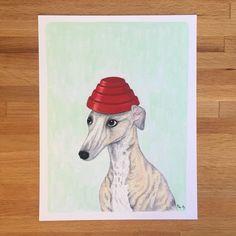 Whippet, Whippet Good - punny dog art by fuzzygrapefruit on Etsy #dog #art #whippet #devo