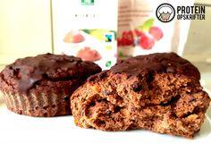 Chocolate-orange protein muffins made with sweet potato and banana.