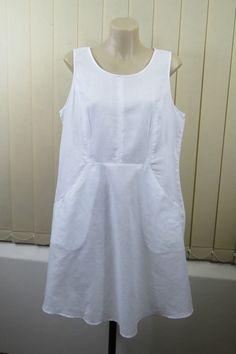 Size XL 14 Ladies White Shift Tunic Dress Boho Chic Linen Casual Beach Vintage