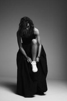 glamour | sneakers | fashion | editorial | treads | I LOVE THIS | black & white | gown | kicks