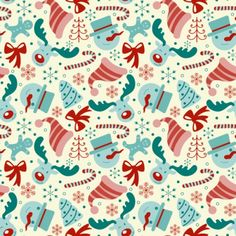 This free seamless Christmas vector pattern offers a retro style, and it's decorated with snowflakes, reindeer, snowmen, trees, bows, candy canes, Santa hats, and more.