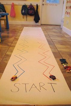 ZIG ZAG Race for fine motor control. Perfect for transportation theme! Motor Skills Activities, Gross Motor Skills, Learning Activities, Preschool Activities, Kids Learning, Fine Motor Activities For Kids, Time Activities, Preschool Kindergarten, Indoor Activities