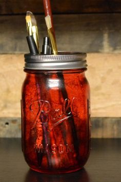 Unique Pen/Pencil Holder. Up cycled Mason Jar. RED. Additional Colors ...