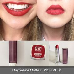 Maybelline MATTE collection Rich Ruby Lipstick Red lips Hollywood lip ideas Makeup Inspiration, Makeup Ideas, Makeup Tips, Beauty Makeup, Eye Makeup, Maybelline Matte Lipstick, Red Lipsticks, Neck Massage, Lipstick Shades