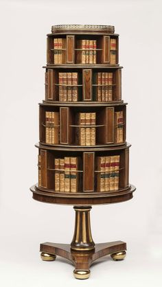 Lord Hesketh's Regency Rosewood & Parcel Gilt Revolving Bookcase from Easton Neston – Apter–Fredericks Furniture Styles, Wood Furniture, Antique Furniture, Reproduction Furniture, Library Furniture, Revolving Bookcase, Home Libraries, Book Storage, Piece A Vivre