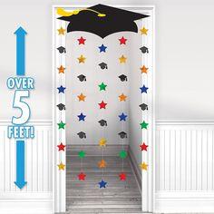 Grad Cap & Stars Graduation Door Curtain ensures a cool entrance to the graduation party! Grad Cap & Stars Graduation Door Curtain has a cardboard graduation cap. Graduation Crafts, Pre K Graduation, Graduation Party Supplies, Kindergarten Graduation, Graduation Decorations, School Decorations, Graduation Photos, In Kindergarten, Hanging Decorations