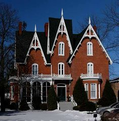 Gothic Revival House  These houses are quite popular for their extremely detailed exteriors and highly pointed triangular faced roofs
