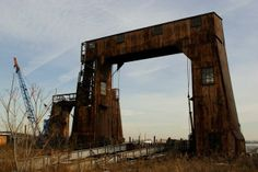 One of two abandoned ferry gantries at Port Morris in the Bronx, NY