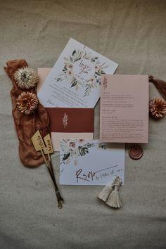 Tri Fold Wedding Invitations, Bohemian Wedding Invitations, Wedding Invitation Suite, Typography Wedding Stationery, Modern Typography, Rustic Bohemian Wedding, Wedding Greenery, Envelope Liners, Floral Watercolor