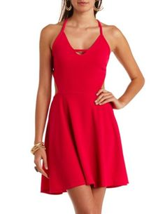 Super Strappy Cut-Out Backless Skater Dress: Charlotte Russe