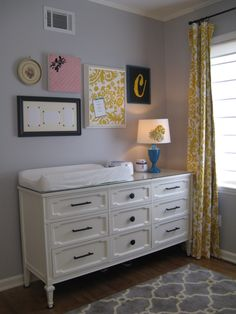 grey yellow nursery  baby girl's nursery  walls-benj moore cement grey  curtains-premier fabrics  rug-garden ridge