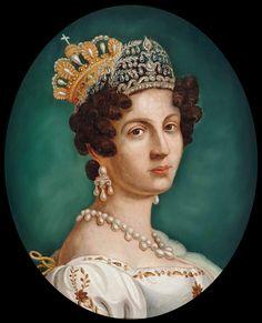[Tiara and crown combination] Königin Therese von Bayern by ? after Joseph Karl Stieler (location ?) Wm