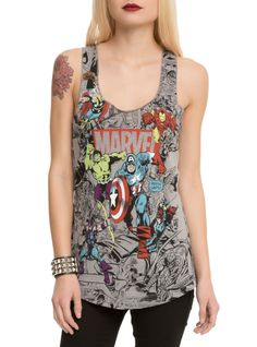 HotTopic Marvel Group Comic Girls Tank Top Found on my new favorite app Dote Shopping Marvel Dc, Marvel Women, Marvel Clothes, Cute Tank Tops, Comics Girls, Tank Girl, Disney Outfits, Disney Clothes, Cropped Tank Top