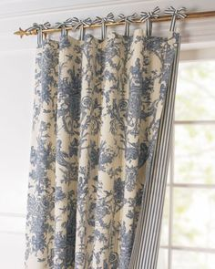 tie-top curtains I love toile prints and ticking and these have a nice soft texture. Tie-top curtains to match toiles Tie Top Curtains, Toile Curtains, No Sew Curtains, Curtains With Blinds, Window Drapes, Valances, Striped Curtains, Window Coverings, Window Treatments