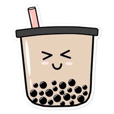 How cute is this smiling boba sticker?! It'll look perfect on your notebook, laptop or reusable bottle! Journal Stickers, Planner Stickers, Logo Slime, Backgrounds Tumblr Pastel, Boba Drink, Cute Laptop Stickers, Bullet Journal Writing, Aesthetic Drawing, Aesthetic Stickers
