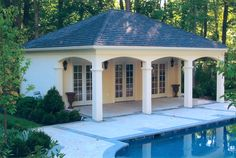 "Want to create a ""faux"" poolhouse using rear end of storage shed which overlooks pool.  This is the general idea, although it's too wide."