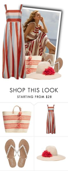 """""""Red Valentino Striped Twill Dress"""" by tasha1973 ❤ liked on Polyvore featuring Ralph Lauren, Mar y Sol, RED Valentino, M&Co and Eugenia Kim"""