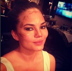 Model Chrissy Teigen Instagrammed a Photo of Her Makeup Contouring Techniques. See How They Differ From Kim Kardashian's!: Girls in the Beauty Department: glamour.com