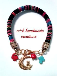 Handmade ethnic bracelet with golden cat. by thenkcreations