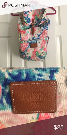 PINK by Victoria's Secret backpack PINK by Victoria's Secret backpack. Floral print. Multiple pockets on the outside. Large opening. Does not have drawstring. GUC PINK Bags Backpacks