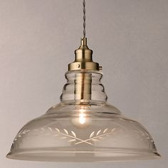Buy John Lewis Hadley Etched Glass Pendant Ceiling Light, Clear/Antique Brass Online at johnlewis.com