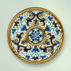 Decorative Plate 14 cms. Handmade in Sevilla.  Isbiliya (Al-Ándalus). Enamels and 24K gold www.madeinandalusia.es