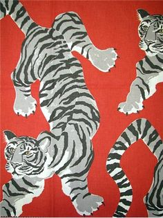 """Le Tigre Pimento - Tropical Jungle Tiger Print Fabric from P. Kaufmann – Bold jungle animal pattern on durable 100% cotton duck.. Perfect for upholstery, drapery or top of the bed. Repeat; V 25.25"""" x H 13.5"""". Soil & stain resist finish. 54"""" wide. Made in U.S.A."""