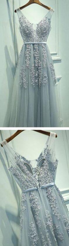 Tulle Long Prom Dresses, V Neckline Grey prom dress,Custom Cheap prom dresses, 2017 prom dresses,lace prom dress,bridesmaid dress on Storenvy