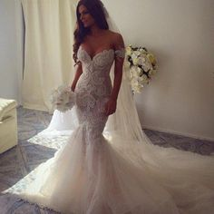 2016 New Spring Luxury Beaded Trumpet / Mermaid Wedding Dress Bridal Gowns With Long Train Off The Shoulder Tulle Robe De Mariage Gown Wedding Dress Ivory Mermaid Wedding Dresses From Loving_weddingevents, $219.9| Dhgate.Com