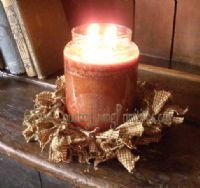 Burlap candle ring....yes!   This would match my wreath....  and surely it isn't that hard to 'create'....       ;)