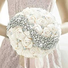 Wedding Bouquet, MyGift Ivory Satin Bride Holding Bouquet, Artificial Roses Rhinestones Wedding Flowers ~ DOLLAGE - We have clothing, shoes and handbags from top fashion brands, style icons and celebrities. Bouquet Bling, Wedding Brooch Bouquets, Bride Bouquets, Flower Bouquet Wedding, Rose Bouquet, Flower Bouquets, Wedding Flower Guide, White Wedding Flowers, Bridal Flowers