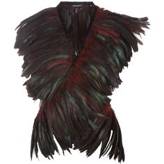 ANN DEMEULEMEESTER B102-8672 000 039 RED FEATHERS N84W06 (€275) ❤ liked on Polyvore featuring outerwear, vests, tops, jackets, scarves, accessories, women, long vest, vest waistcoat and red silk vest
