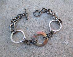 Copper Washer Bracelet, Post Apocalyptic Jewelry, Industrial Jewelry, Chain Bracelet, Edgy Bracelet, Hardware Jewelry, Metal Bracelet on Etsy, $25.00