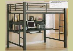 Black Metal Loft Bed Bedroom Computer PC Desk Station