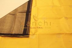 Beautiful yellow and black combination kanchipuram saree.. Kanchi signature collection saree .. https://www.facebook.com/Kanchi-Signature-Collection-353807514697160/timeline/