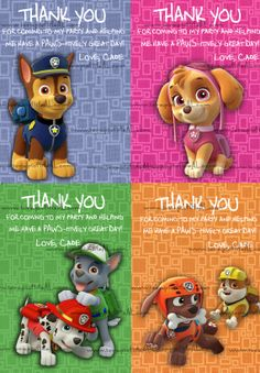 PERSONALIZED - Paw Patrol Party Favor Label, Tag, or Mini - Thank You Card - 4 Designs Include Fast Printable DiY