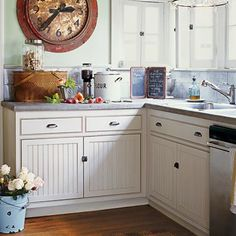 Bead Board Cabinets-I like the cabinets with newer drawer pulls, ceiling bean and wood plank ceiling.really nice Cozy Kitchen, New Kitchen, Kitchen Dining, Kitchen Decor, Kitchen Ideas, Rustic Kitchen, Vintage Kitchen, Kitchen Country, Kitchen Colors