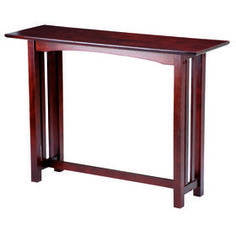 Picture Of Dark Walnut Mission Sofa Accent Table