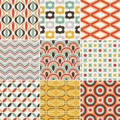 Retro Vintage Retro seamless pattern vector on VectorStock® Geometric Patterns, Geometric Fabric, Line Patterns, Textures Patterns, Fabric Patterns, Wallpaper Art Deco, Retro Wallpaper, Pattern Wallpaper, Motif Vintage