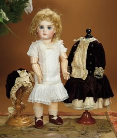 Bread and Roses - Auction - July 26, 2016: 227 French Bisque Bebe E.J. by Jumeau with Original Costume and Early Signed Jumeau Shoes