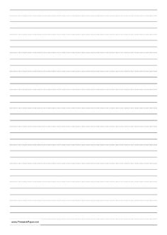 Children learning to print or write cursive can use this dashed paper in school or at home to practice penmanship. It is A4 size and has twelve lines per page, in portrait (vertical) orientation. Free to download and print