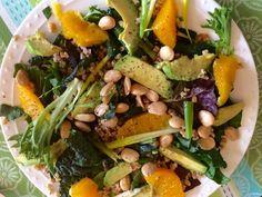 meditarranean salad with oranges, avocado, farro, and almonds #food #nutrition #salad #wholegrains #kale #recipe #recipes #cooking #salad #healthyeating #healthyfood #healthylifestyle #avocado #foodie #healthy