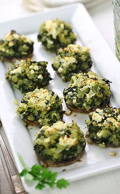Spinach and feta stuffed mushrooms
