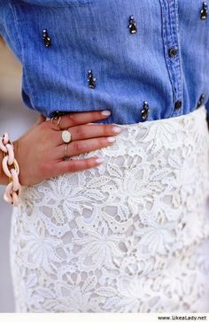 MODE THE WORLD: J.Crew Embroidered Blouse With White Lace Skirt